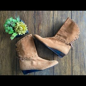 Stuart Weitzman Brown Suede Lace-Up Ankle Boots
